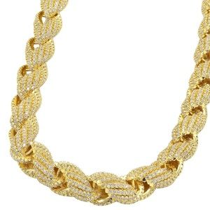 Mens Fully Iced Out 14k Gold Diamond Rope Chain